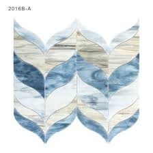 artistic blue stained glass mosaics tile sheets for kitchen wall backsplash