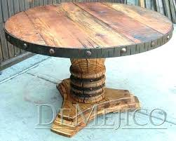 rustic wood round dining table furniture remarkable reclaimed detailed view canada