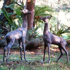 extra large deer statues pair