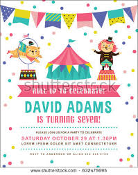invitation for a party kids birthday party invitation card circus stock vector 632475695