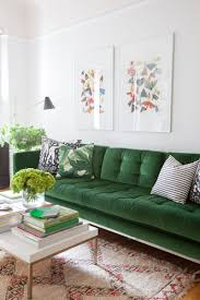 soft green velvet sofa with erfly artwork