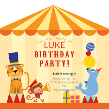yellow circus tent free birthday invitation template greetings island