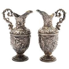 Decorative Pitchers Pairing of Plated Silver Decorative Pitchers EBTH 88