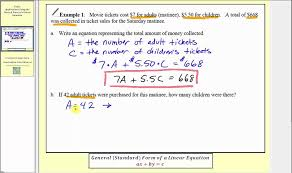 of a linear equation in general standard form l11 5