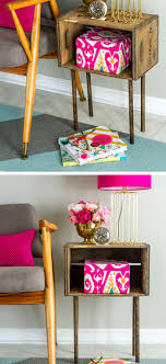 diy wooden crate side table diy home decor ideas on a budget diy home
