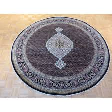 8 x 8 round hand knotted black mahi tabriz rug wool silk g3178