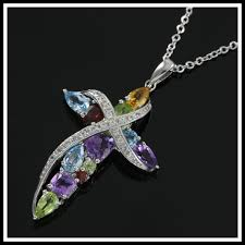 solid 925 sterling silver genuine multi color stones designer authentic coloresg by lorenzo cross necklace