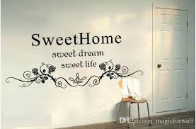 english wall decor black flowers rattan wall art mural headboard sticker decor sweet home sweet dream