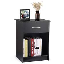 intey modern black nightstand bedside table with drawer and open shelf mdf tall bedroom end table