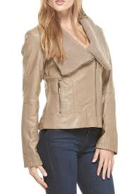 coalition taupe faux leather jacket side cropped image