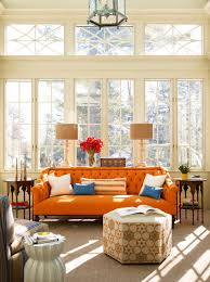 Orange And Yellow Living Room Living Room Decorating Ideas With Orange Couch And A Mixture Of
