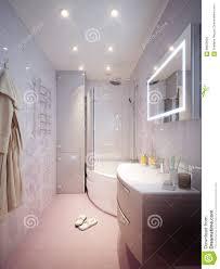 Moderner Badezimmerinnenraum Mit Den Rosa Und Weißen Fliesen Stock