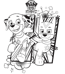 Paw Patrol Super Pups Chase And Marshall Colouring Page Coloring