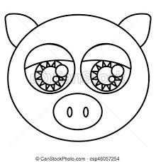 かわいい スケッチ シルエット 大きい目 豚 動物顔
