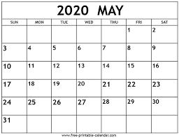 Calendar May 2020 May 2020 Calendar Free Printable Calendar Com