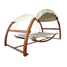It's a swing bed with canopy-- sort of an awesome covered hammock. You