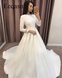 Manches Longues 2019 Robes De Mariée Une Ligne Satin Simple Robe De Mariage En Turquie Robes De Mariée Pas Cher Mariage Robe De Mariage