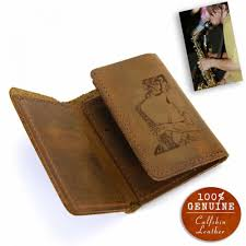 personalized with your photo leather trifold wallet in cinnamon color