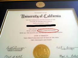 berkeley graduate discovered he had a degree in cummunications  could have done a spell checker alex harris s diploma certificate for his degree in