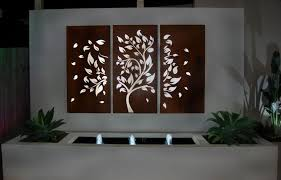 outdoor garden wall art on external wall art melbourne with natural gas fire pit ideas for comfortable backyard sitting area