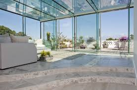 Home Interiors:Contemporary House With Glass Windows Decoration Ideas  Perfect Glass House Extension Design With