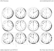 digital office clocks. Royalty-Free (RF) Clipart Illustration Of A Digital Collage Shiny White Office Wall Clocks At Different Times By Michaeltravers S