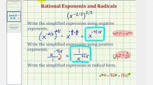 ex simplify an expression with negative rational exponents and write in radical form