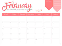 2019 Calendar Printable By Month February 2019 Calendar Template Word Pdf Excel Format