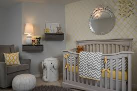 ... Fabulous wallpaper brings yellow to the gray nursery in style [Design:  Samantha Culbreath /