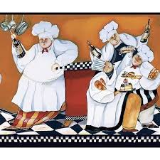 1 of 4free new chefs prepasted wallpaper a cookin border fat chef kitchen cafe wall decor