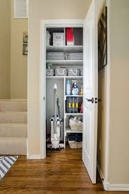 gather all your cleaning and interior home upkeep supplies into one location like a small