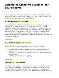 General Objectives For Resume Sarahepps Com
