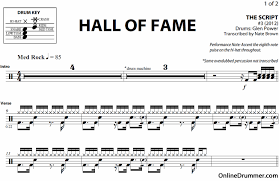 drum set sheet music hall of fame the script drum sheet music onlinedrummer com