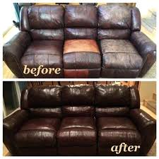 re leather couch worn leather couch red with mahogany leather dye and clear before and repairing