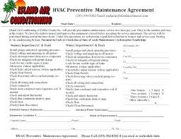 Yearly Contract Template New Maintenance Contract Template Free Annual Templates Commercial Hvac