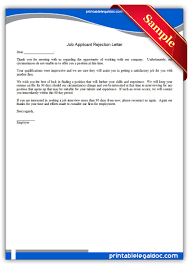 printable job applicant rejection letter legal forms printable job applicant rejection letter legal forms