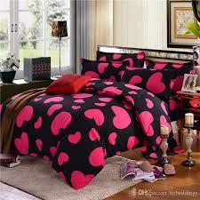pink love heart bedding set black duvet quilt cover bed sheet pillowcase single double queen size polyester 4pcs bedspreads
