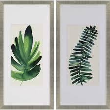palm leaves i 2 piece framed wall art set  on leaf wall art set with paragon palm leaves i 2 piece framed wall art set wayfair