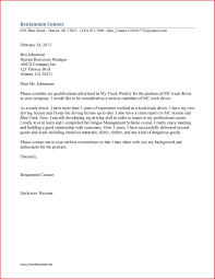Driver Job Application Cover Letter Template An Example Of A Sample