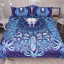 good print blue indian elephant mandala bedding set duvet cover blue bohemian bedcloth twin full queen king double size duvet flannel bedding from