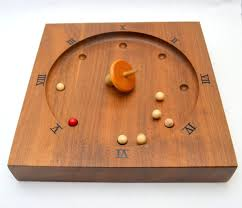 Wooden Spinning Top Game Mid Century Scandia Roulette Game Solid Walnut Base Spinning Top 78