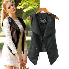 women pu leather vest fashion women vests casual black coat female cardigan outwear hot lady top in vests waistcoats from women s clothing on