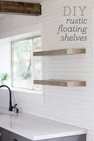 diy floating rustic shelves don t these look great in the kitchen its easy to see how they could hold everything
