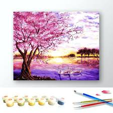 enchanting cherry blossom tree painting oil painting pink cherry blossom tree by numbers canvas coloring paint