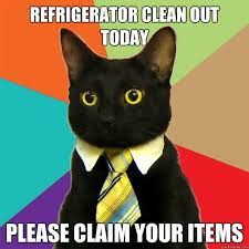 refrigerator clean out today please claim your items