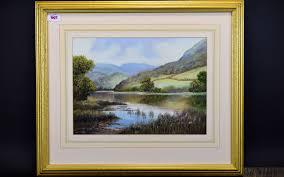 Wendy Reeves - 1945 Irish Artist. Titled ' Rydal ' Water Windermere Lake  District, Pastel / Water