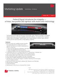 Federal Signal Solaris Light Bar Federal Signal Introduces The Integrity A Linear Low