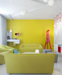 Yellow Living Room Red Accents
