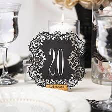 table number cards. black laser cut table number cards 11-20