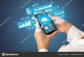 Financial Tracking Hand Using Phone With Financial Tracking Concept Stock